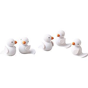 Small Figures & Ornaments Günter Reichel Easter Bunnies Birds, set of Five - 1 cm / 0.4 inch