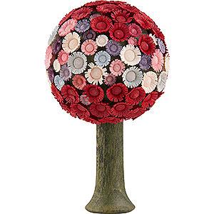 Weihnachtsengel Flade Flachshaarengel Blütenbaum rot/pastell - 7,5x4,5 cm