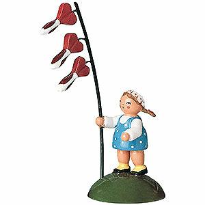 Kleine Figuren & Miniaturen Blumenkinder Blumenkind Mädchen mit Herzblume - 6 cm
