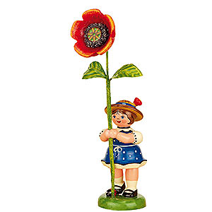 Kleine Figuren & Miniaturen Hubrig Blumenkinder Blumenkind Mädchen mit Mohnblume - 11 cm