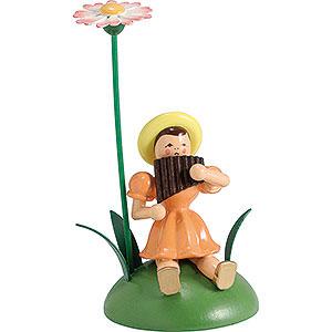 Kleine Figuren & Miniaturen Blumenkinder Blumenkind mit Gänseblümchen und Panflöte sitzend - 12 cm