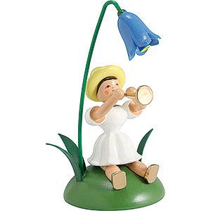 Kleine Figuren & Miniaturen Blumenkinder Blumenkind mit Glockenblume und Flöte sitzend - 12 cm