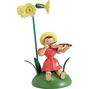 Kleine Figuren & Miniaturen Blumenkinder Blumenkind mit Primel und Violine sitzend - 12 cm