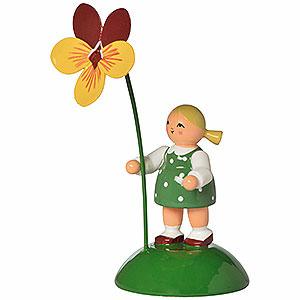 Kleine Figuren & Miniaturen Blumenkinder Blumenmädchen mit Stiefmütterchen - 6 cm