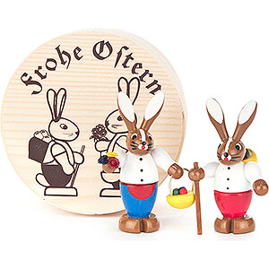 Small Figures & Ornaments Easter World Bunny Couple colored in Wood Chip Box - 4 cm / 1.6 inch