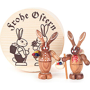 Small Figures & Ornaments Easter World Bunny Couple natural in Wood Chip Box - 4 cm / 1.6 inch