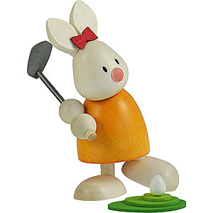 Small Figures & Ornaments Max & Emma (Hobler) Bunny Emma Golfing, Teeing Off - 9 cm / 3.5 inch