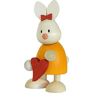Small Figures & Ornaments Max & Emma (Hobler) Bunny Emma Standing with Heart - 9 cm / 3.5 inch