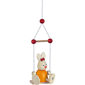 Small Figures & Ornaments Max & Emma (Hobler) Bunny Emma on Swing - 9 cm / 3.5 inch
