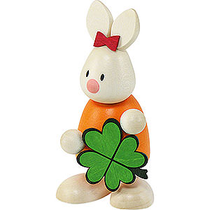 Small Figures & Ornaments Max & Emma (Hobler) Bunny Emma with Clover - 9 cm / 3.5 inch