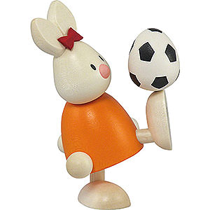 Small Figures & Ornaments Max & Emma (Hobler) Bunny Emma with Football - 9 cm / 3.5 inch