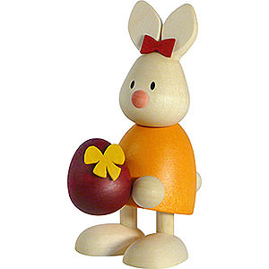 Small Figures & Ornaments Max & Emma (Hobler) Bunny Emma with Large Egg - 9 cm / 3.5 inch