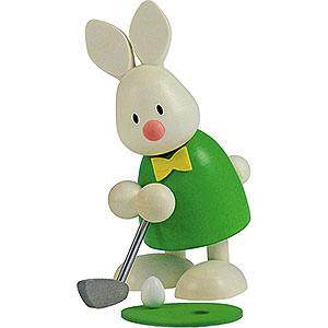 Small Figures & Ornaments Max & Emma (Hobler) Bunny Max Golfing, Holing in - 9 cm / 3.5 inch