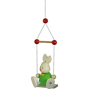 Small Figures & Ornaments Max & Emma (Hobler) Bunny Max on Swing - 9 cm / 3.5 inch