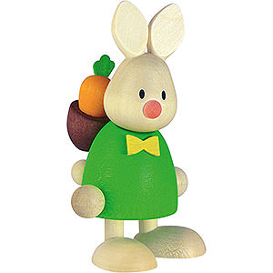 Small Figures & Ornaments Max & Emma (Hobler) Bunny Max with Back Pack Rod and Carrot - 9 cm / 3.5 inch