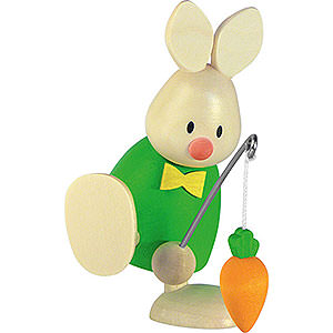 Small Figures & Ornaments Max & Emma (Hobler) Bunny Max with Fishing Rod and Carrot - 9 cm / 3.5 inch
