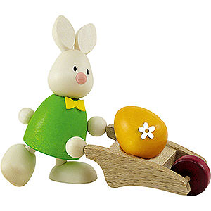 Small Figures & Ornaments Max & Emma (Hobler) Bunny Max with Hand Cart - 9 cm / 3.5 inch