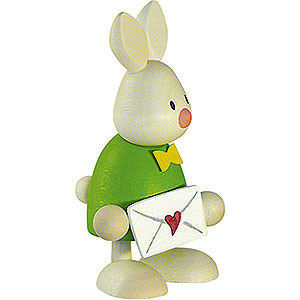 Small Figures & Ornaments Max & Emma (Hobler) Bunny Max with Love Letter - 9 cm / 3.5 inch