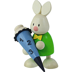 Gift Ideas Back to School Bunny Max with School Cone - 9 cm / 3.5 inch