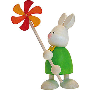 Small Figures & Ornaments Max & Emma (Hobler) Bunny Max with Wind Mill - 9 cm / 3.5 inch