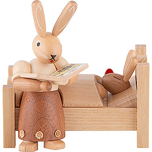 Small Figures & Ornaments Animals Rabbits Bunny Mom Tells Good Night Stories - 9 cm / 3.5 inch