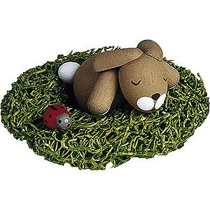 Small Figures & Ornaments Günter Reichel Easter Bunnies Bunny Sleeping in Nest - 2,7 cm / 1.1 inch
