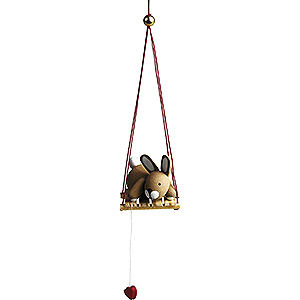 Small Figures & Ornaments Günter Reichel Easter Bunnies Bunny on Swing - 2,7 cm / 1.1 inch