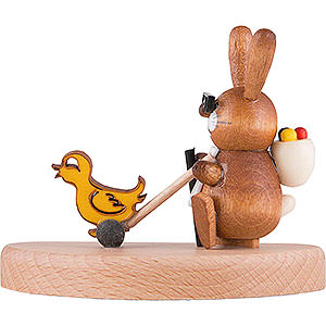 Small Figures & Ornaments Animals Rabbits Bunny walking a Chick - 5,5 cm / 2.2 inch