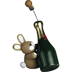 Small Figures & Ornaments Günter Reichel Easter Bunnies Bunny with Champagne Bottle - 2,7 cm / 1.1 inch
