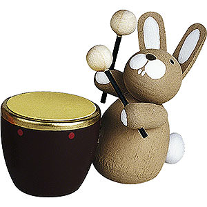 Small Figures & Ornaments Günter Reichel Easter Bunnies Bunny with Kettle Drum - 3 cm / 1.2 inch