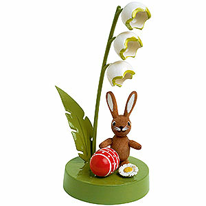 Small Figures & Ornaments Animals Rabbits Bunny with Lily of the Valley - 7 cm / 3 inch