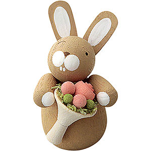 Small Figures & Ornaments Günter Reichel Easter Bunnies Bunny with Rose Bouquet - 3 cm / 1.2 inch