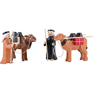 Small Figures & Ornaments ULMIK Nativity colored Camel Herder, Set of Four, Colored - 7 cm / 2.8 inch