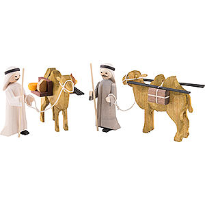 Small Figures & Ornaments ULMIK Nativity stained Camel Herders, Set of Four, Stained - 7 cm / 2.8 inch