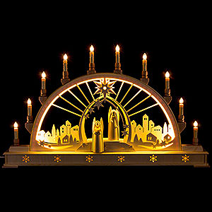 Candle Arches Fret Saw Work Candle Arch - Angel with LED Interior Lights - 78x45 cm / 30x17 inch
