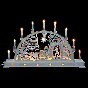 Candle Arches Fret Saw Work Candle Arch - Annaberg Church with Base - 78x45 cm / 31x18 inch
