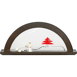 Candle Arches All Candle Arches Candle Arch - Bog Oak with Glas and Red Fir Tree - 79x14x35 cm / 31x5.5x14 inch