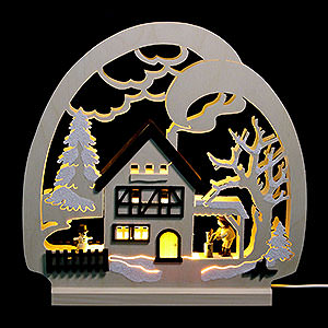 Candle Arches Fret Saw Work Candle Arch - Cabin in the Forest - 30x28.5x4.5 cm / 11.81x11.02x1.57 inch