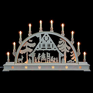 Candle Arches Fret Saw Work Candle Arch - Christmas House with Base - 78x45 cm / 31x18 inch