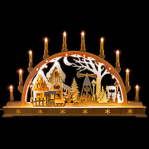 Candle Arches Fret Saw Work Candle Arch - Christmas Market with LED Interior Lights - 78x45 cm / 30x17 inch