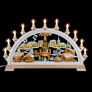 Candle Arches Fret Saw Work Candle Arch - Christmas Market with Pyramid, Colored - 65x40 cm / 26x17.5 inch