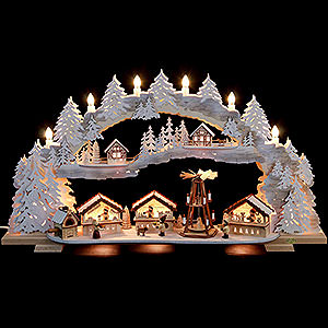 Candle Arches Fret Saw Work Candle Arch - Christmas Market with Snow (variable) - 72x43x13 cm / 28x16x5 inch