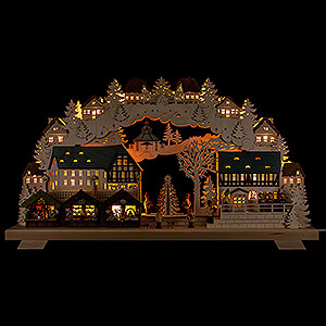 Candle Arches Fret Saw Work Candle Arch - Christmas Market with Tree - 70x40 cm / 27x16 inch