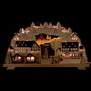 Candle Arches Fret Saw Work Candle Arch - Christmas Market with Turning Pyramid - 70x40 cm / 27.5x15.7 inch