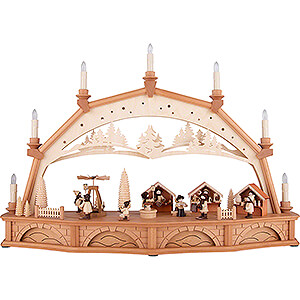 Candle Arches Illuminated inside Candle Arch - Christmas Market with Turning Pyramid - 75x50 cm / 29.5x19.7 inch