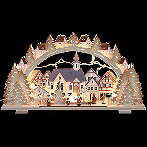 Candle Arches Fret Saw Work Candle Arch - Christmas Time Natural Wood Exclusive - 72x41x7 cm / 28x16x3 inch