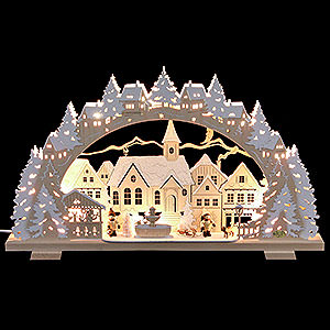 Candle Arches Fret Saw Work Candle Arch - Christmas Time with Sledding Child and Dog - 53x31x4,5 cm / 21x8x1.8 inch