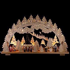 Candle Arches Fret Saw Work Candle Arch - Christmas in Seiffen - 70x45 cm / 28x18 inch