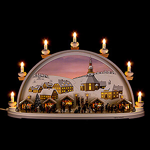 Candle Arches Illuminated inside Candle Arch - Christmas in Seiffen - Limited by Klaus Kolbe - 70x40x17,5 cm / 27.5x15.5x7 inch