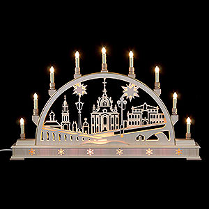 Candle Arches Fret Saw Work Candle Arch - Church of Dresden with Base - 78x45 cm / 31x18 inch